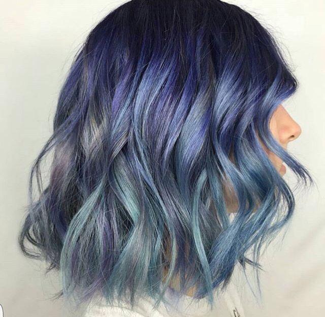 Blue vivid hair. Shadow root. Dusty blue. Multicolored hair. Hair by @edelmaaan