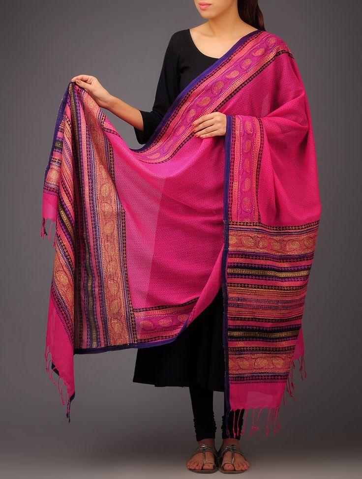 Buy Pink Purple Black Paisley Khari Block Printed Silk Dupatta by Jaypore Tussar Accessories Dupattas Online at Jaypore.com