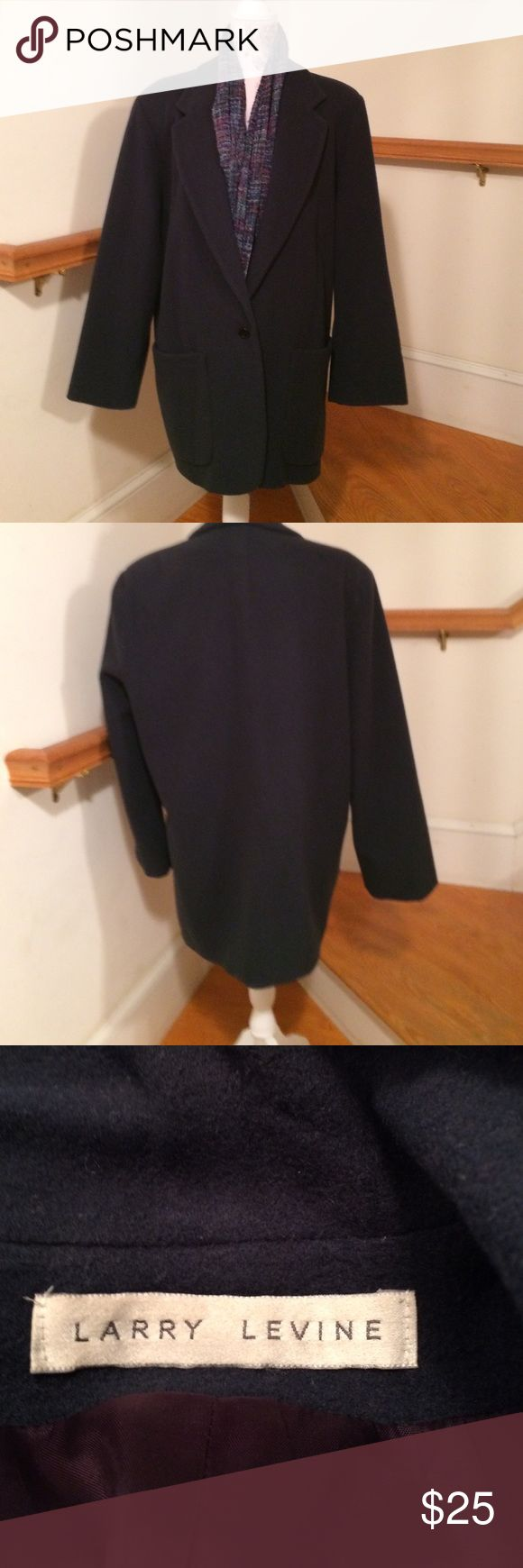 Gorgeous Larry Levine Coat Women's size 10 soft French Blue wool jacket. It is a generous size 10. Manufactured when Larry still ran the company. Eventually he sold the rights to his name. His is a true rags to riches story! I am one of many relatives. Larry Levine Jackets & Coats