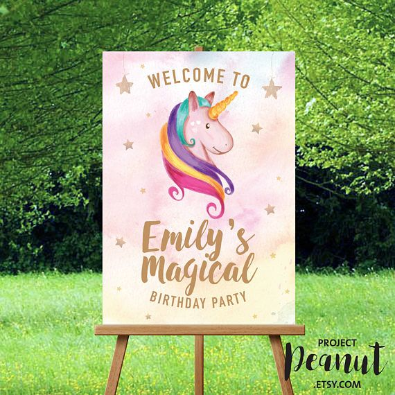 Unicorn Welcome Sign - Unicorn Birthday - Birthday Welcome - Magical Unicorn Sign - Birthday Party Sign - Printable Sign - Welcome Sign Welcome your guests to the birthday party with this magical unicorn welcome sign!  PLEASE NOTE:  + You are purchasing a digital file only.  + NO PRINTED MATERIALS ARE INCLUDED!  + There are NO REFUNDS as this is a digital product.  + A reminder that this is a DIGITAL PRODUCT.  WHAT DO YOU GET? An A2-size 16.5 x 23.4 inch digital printable artwork  HOW TO…