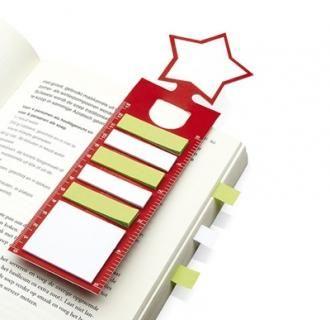 Semn de carte multifunctional cu model stea. #Semn de #carte multifunctional cu model stea este #cadou perfect pentru #Craciun. Include #rigla de 13 cm, 1 bloc de #notite adezive si 5 marcatoare adezive pentru pagini, in alb si verde.