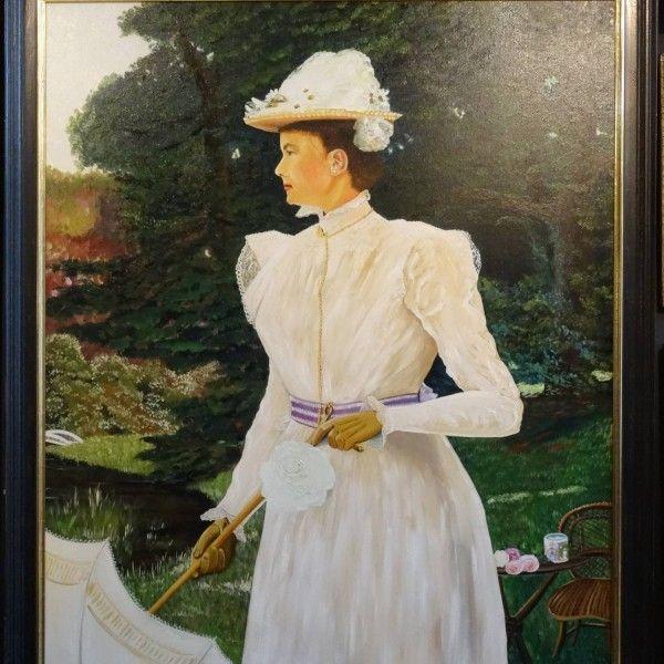 Schilderij prinses Wilhelmina in de tuinen van Paleis het Loo
