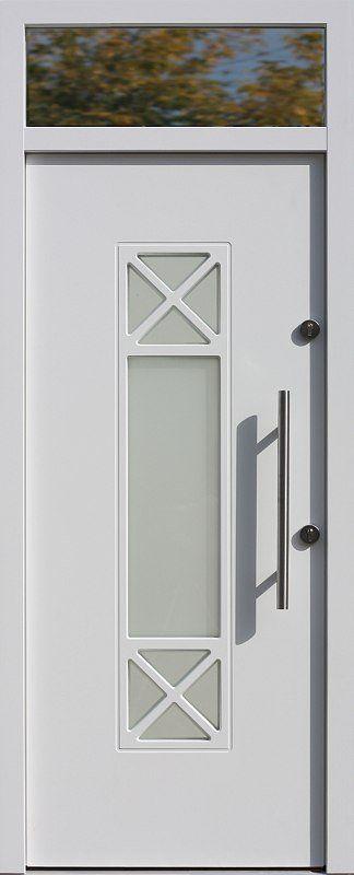 Drzwi z naświetlem górnym z szybą wzór 461,1 w kolorze białe.