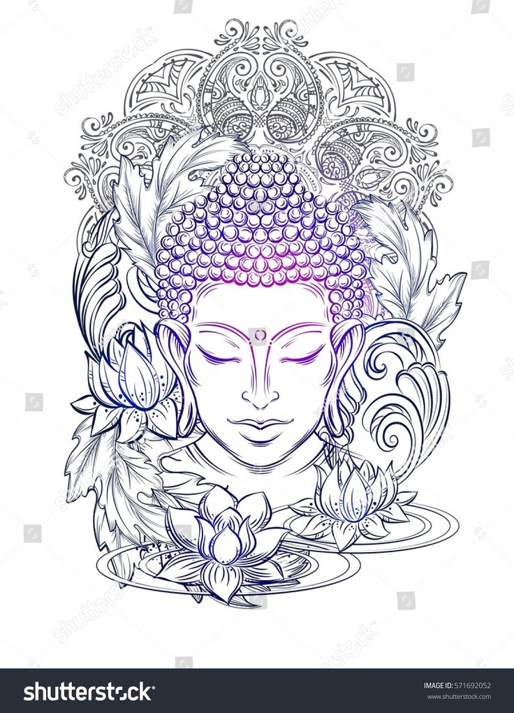 Buddha head – elegant vector illustration. The sym…