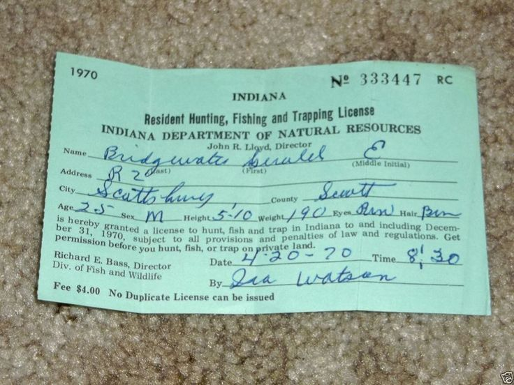 Vintage 1970 State of Indiana Resident Hunting Fishing Trapping License