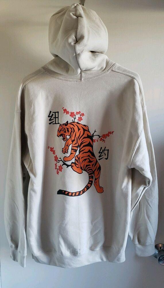 The Artist Union Tiger Climbing Sakura Tree Hoodie Sand Colorway Theartistunion Hoodie Hoodies Clothes Graphic Sweatshirt