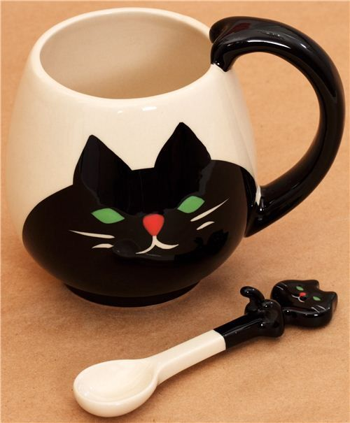 It's The Cat's Meow! Cool Cat Mug With Cat Spoon  ... see more at PetsLady.com ... The FUN site for Animal Lovers