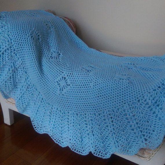 Blue  Circular Crocheted Baby Blanket or heirloom by frillydaisy