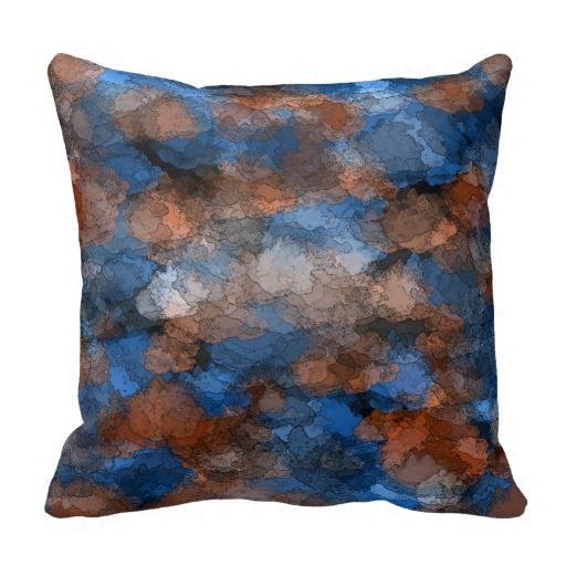 #Cushion #Pillow #LivingRoom Blue and brown Cloudy Throw Pillow from $29.55