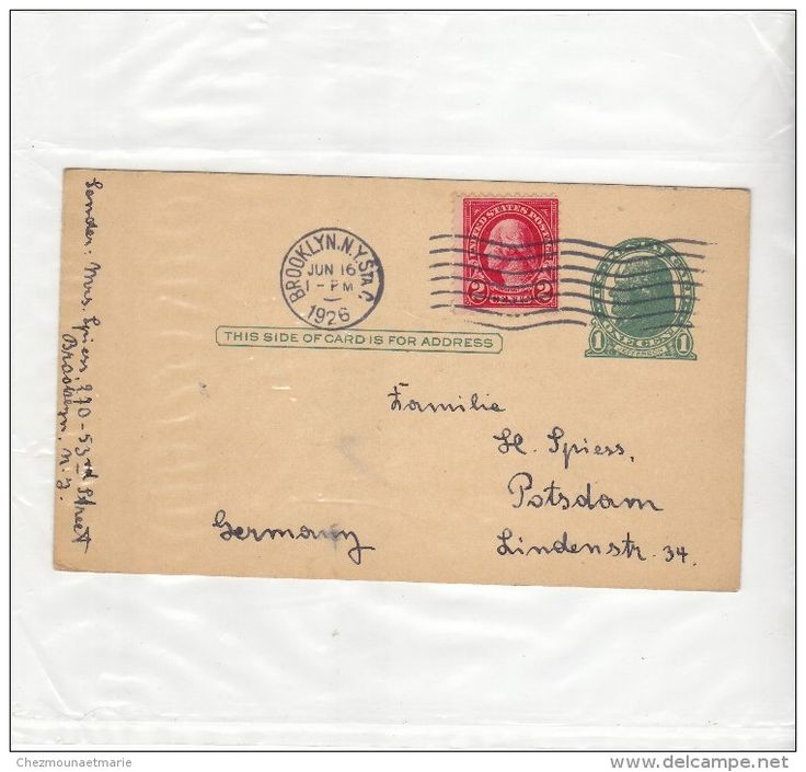 USA ETATS UNIS ALLEMAGNE - BROOKLYN POSTDAM 1926 - ENTIER POSTAL 1 CENT JEFFERSON COMPLEMENT D AFFRANCHISSEMENT 2 CENTS