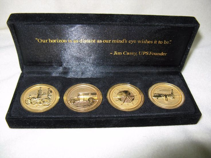 Vintage United Parcel Service UPS Gold Tone 4 Coin Medal Commemorative Box set