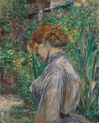 Henri de Toulouse-Lautrec (French ,1864-1901):Red-Headed Woman in the Garden of M. Foret ,1887. Анри де Тулуз-Лотрека (французский, 1864-1901): Рыжеволосая женщина в саду М. Форе ,1887. 亨利·德图卢兹 - 劳特克(法语,1864-1901):红头的女人在M.Foret的花园,1887年。