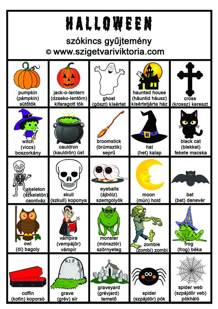Szigetvári Viktória - Angol Halloween szókincs gyűjtemény - angol nyelvtan, angol tanulás