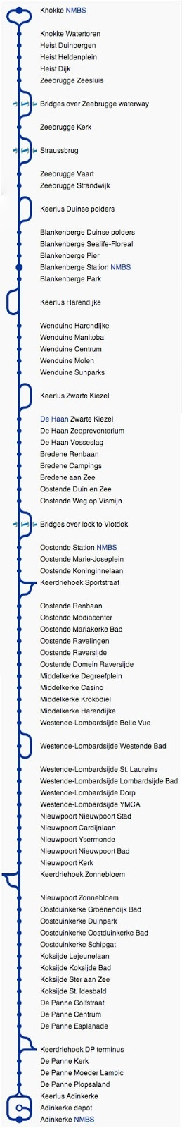 The Coast Tram (Dutch: De Kusttram) is a public transport service connecting the cities and towns along the entire Belgian (West Flanders) coast, between De Panne near the French border and Knokke-Heist