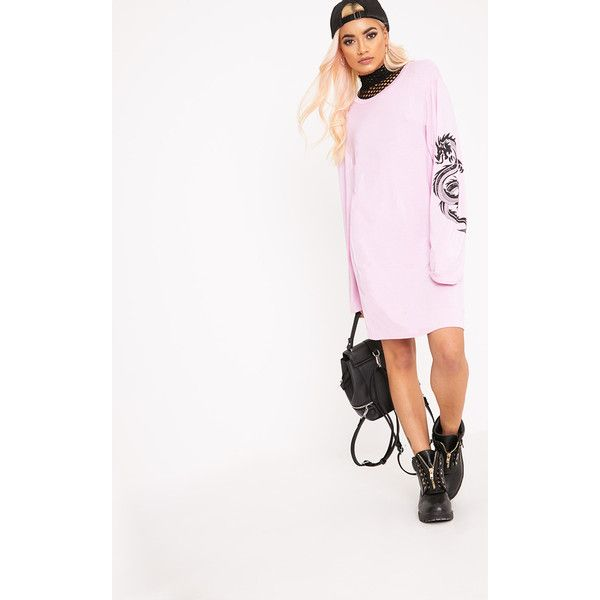 Dragon Pink Print T Shirt Dress ($6.59) ❤ liked on Polyvore featuring dresses, pink, jersey knit t shirt dress, pink day dress, jersey knit dress, pink t shirt dress and sleeved dresses