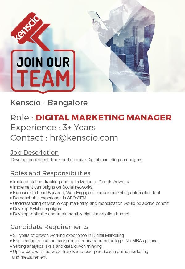 Looking for a Digital Marketing Manager. Check out the details. #DigitalMarketingManager #Kenscio #Jobs #Hiring