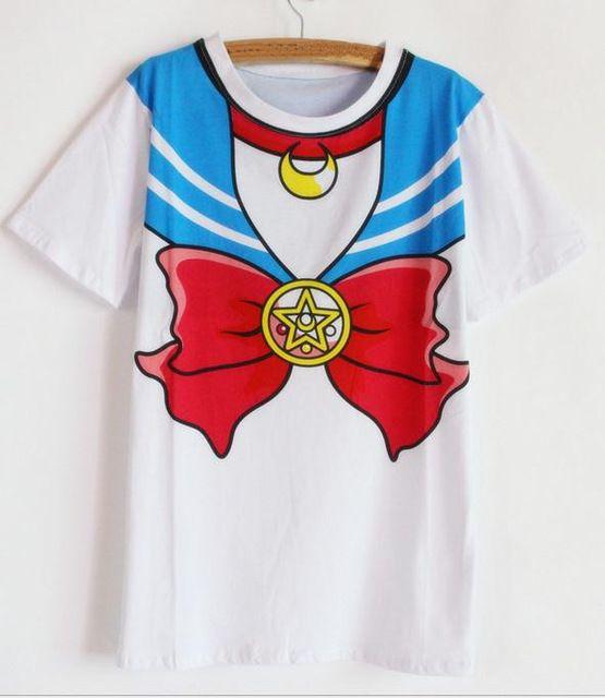 New Hot Sailor moon harajuku camiseta 2017 mulheres traje cosplay top falso kawaii marinheiro t shirts menina nova Frete Grátis SALMOPH em Camisetas de Das mulheres Roupas & Acessórios no AliExpress.com | Alibaba Group