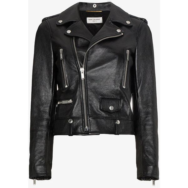 Saint Laurent Leather Biker Jacket ($4,990) ❤ liked on Polyvore featuring outerwear, jackets, black, rider leather jacket, leather motorcycle jacket, rider jacket, moto jackets and biker jackets