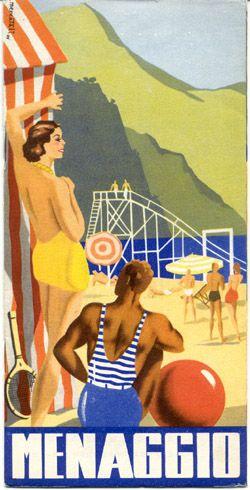 Menaggio, Lago di Como, Italia. Vintage travel poster Lake Como Italy www.varaldocosmetica.it/en the handmade cosmetics
