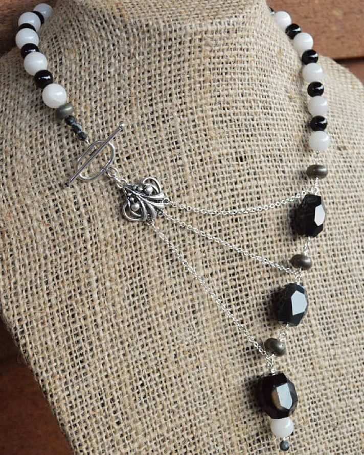 Black & White Adrienne Adelle Signature Necklace - Black Onyx Agate, White Jade and Sterling Silver Asymmetrical Gemstone Statement Necklace http://ift.tt/QMgMmf #adrienneadelle #handmadejewelry #artisanjewelry #artisan #jewelry #uniquejewelry...