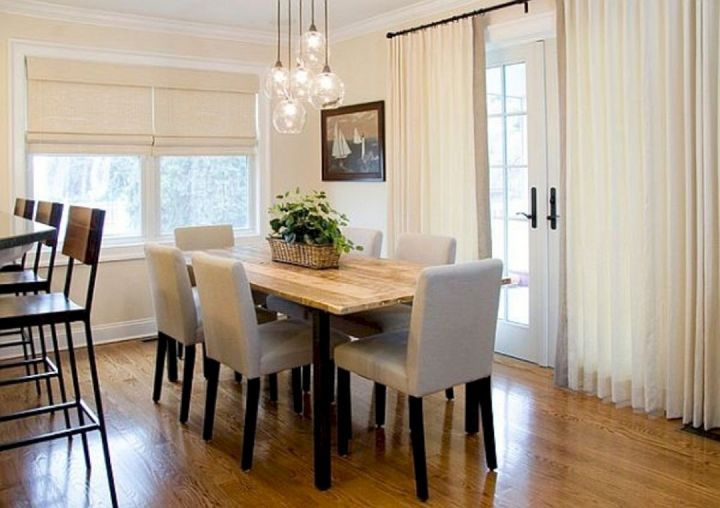 Dining Room With Simple Tables And Lights 1 Dining Room With Simple Tables And Lights 1 Design Ideas And Photos Dining Room Lighting Dining Room Contemporary Dining Room Curtains