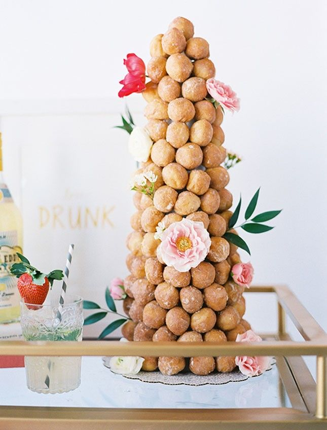 Get creative + add a donut tower to your spring brunch dessert table.