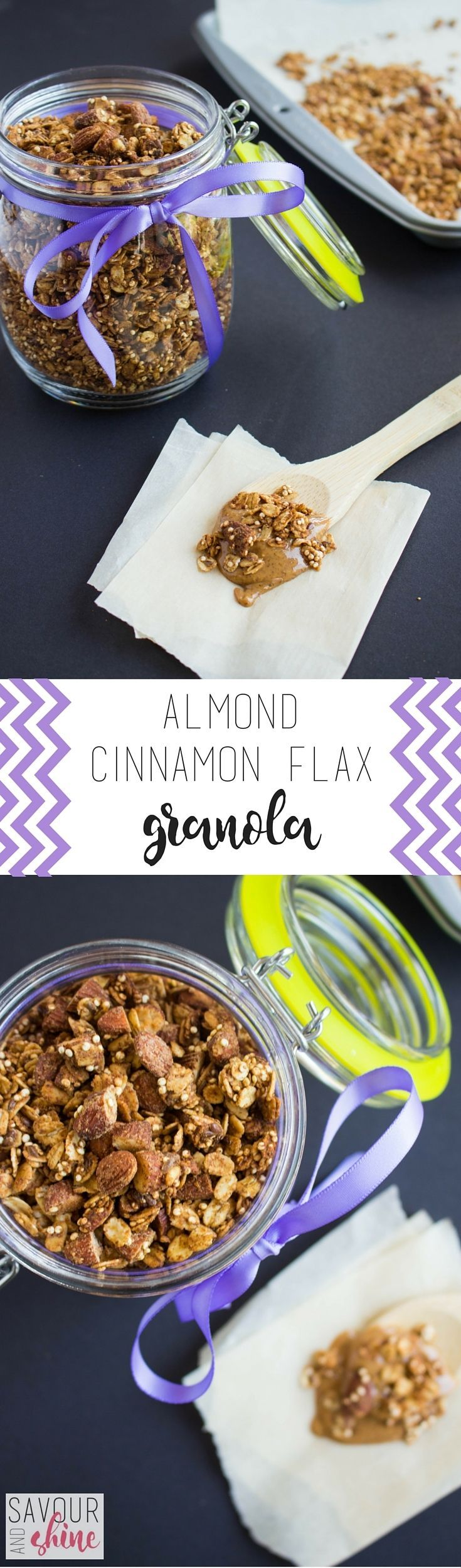 This Gluten-Free Almond Cinnamon Flax Granola is ready in less than 45 minutes and SO delicious! Perfect to have on hand for the week. www.savourandshin...