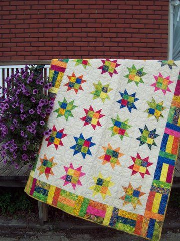 stars and strips quilt made with Tonga Treats fabric.Lap Quilt