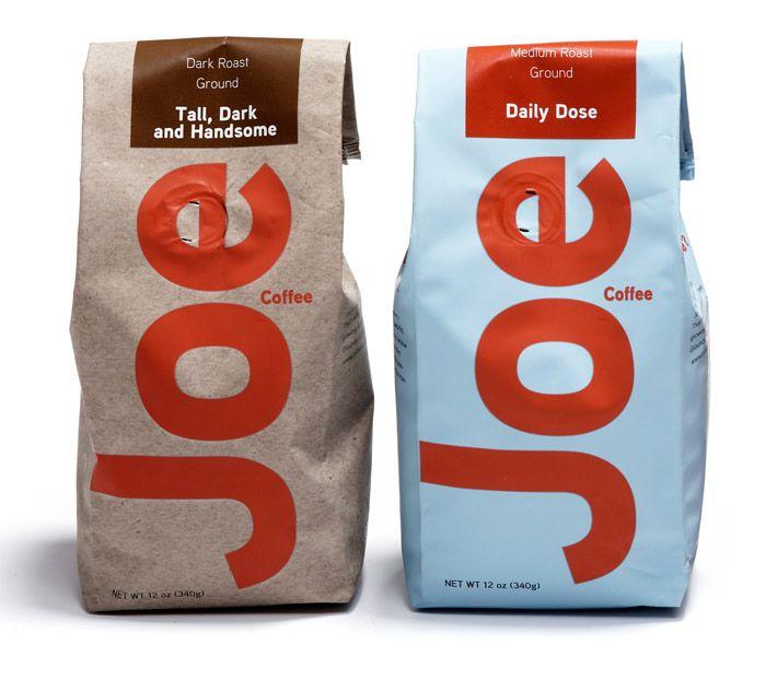 Coffee packaging. Tall, dark, and handsome. Joe. haha