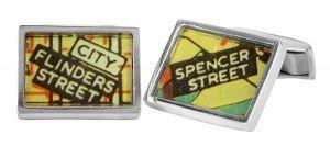 Spencer Flinders vintage street directory cufflinks in sterling silver - $150