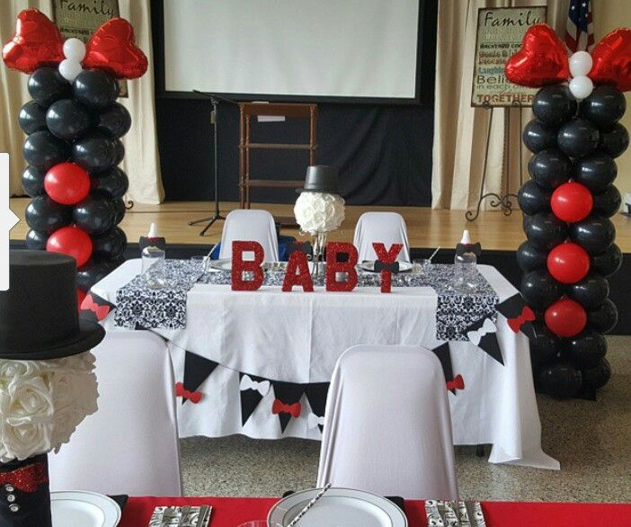 Baby shower bow tie theme balloon columns by Events by Car'Lisa .red black and white decor