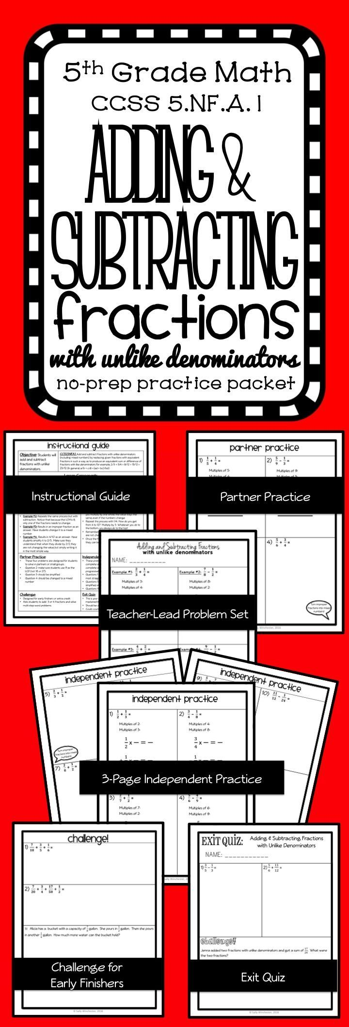 Adding & Subtracting Unlike Fractions,plete Lesson Packet And Quiz