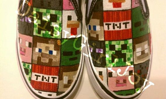 Custom hand painted Minecraft Van's brand by DaisyGirlJoy on Etsy, $70.00