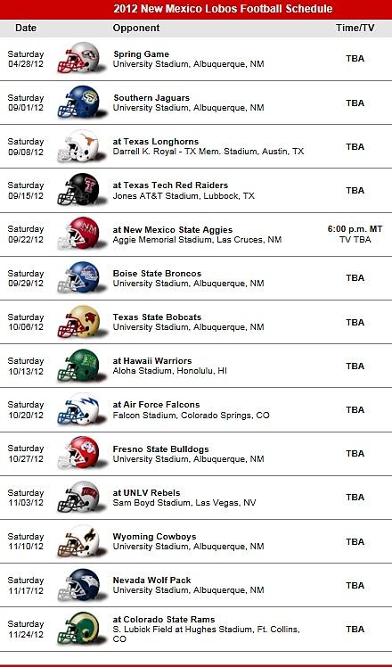 New Mexico Lobos 2012 Football Team schedule
