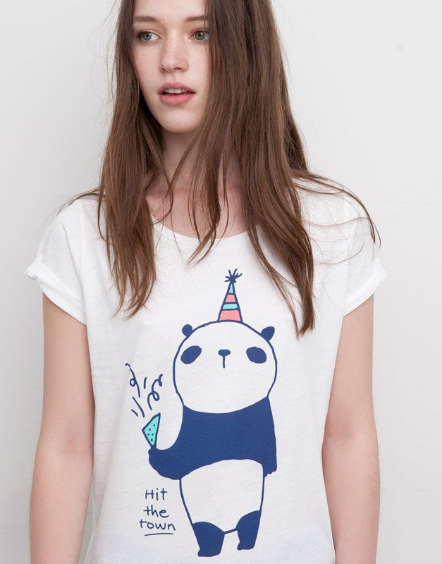 Pull&Bear - femme - t-shirts et tops - t-shirt imprimé panda - glace - 05241396-I2015