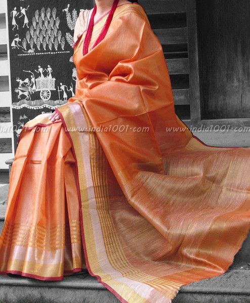 Elegant & Fine Tussar Silk Saree with Dual Tone Zari borders