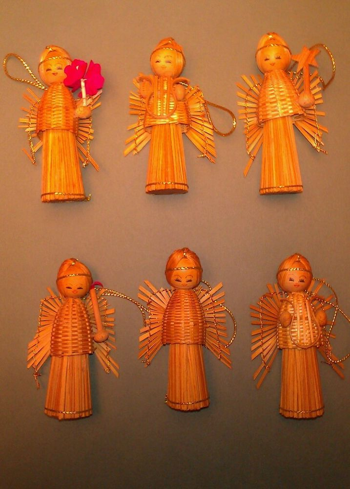 Vintage Country Christmas Straw Angel Ornaments ~ Set of Six Hand Crafted Basket