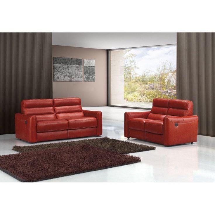 Estro Salotti Levante Modern Red Leather Sofa Set