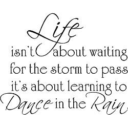 @Overstock - Customize your wall decor in simple style with this black vinyl wall art. This versatile decal applies to smooth surfaces and features the quote, 'Life isn't about waiting for the storm to pass, it's about learning to dance in the rain.'http://www.overstock.com/Home-Garden/Life-Dance-Rain-Vinyl-Wall-Art/5109864/product.html?CID=214117 $45.49