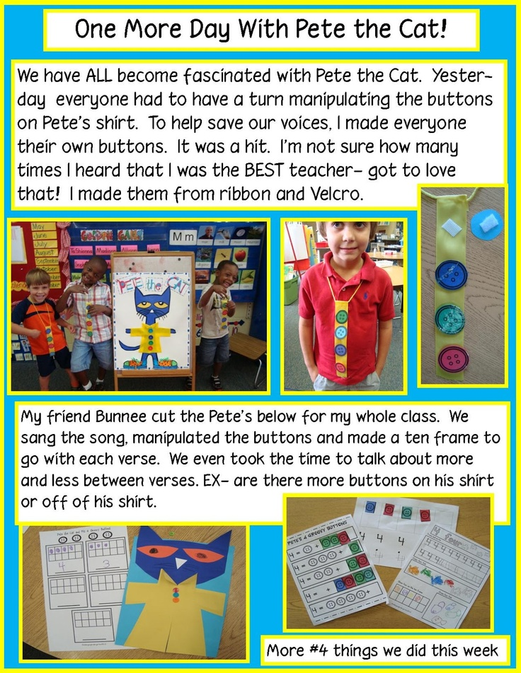 Pete the Cat's 4 Groovy Buttons and more free math activities.