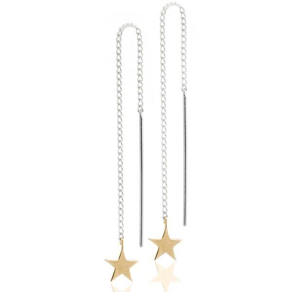 Boh Runga Stargazers Thread Earrings - Sterling Silver & 9ct Yellow Gold