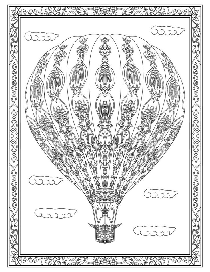 coloring for adults hot air balloon - Hot Air Balloon Pictures Color