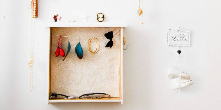 Leftover drawers—or cheap drawers you find at thrift stores—can be staging grounds for DIY solutions to so many home problems. Here, Funkytime makes them into a simple, bright home for her jewelry.     - HouseBeautiful.com