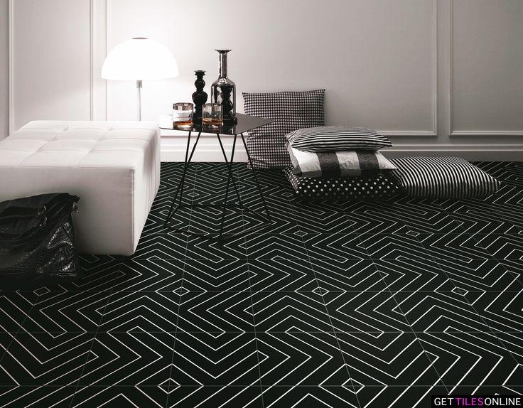 Keith Chevron Black Matt 200x200 (Code:01427) - Get Tiles Online