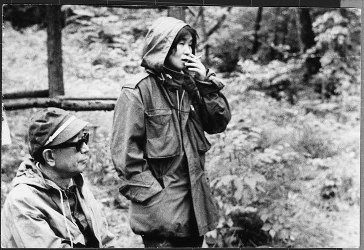 Director Akira Kurosawa and his assistant Teruyo Nogami at the film set. Teruyo Nogami - the author of the book Waiting on the Weather: Making Movies with Akira Kurosawa - had been working with the director for more than four decades.