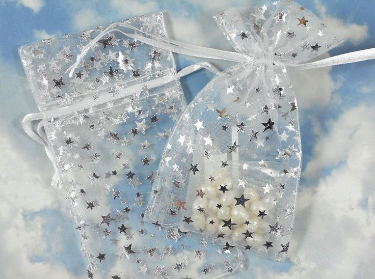 "10 Silver Stars Organza Gift Bags on White 3"" x 4"" Goodie Bag Wedding Favors Jewelry Pouch (B32) by simpsonstudios on Etsy https://www.etsy.com/listing/118590919/10-silver-stars-organza-gift-bags-on"