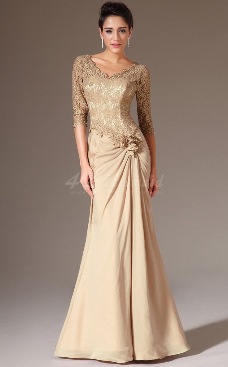 Long mermaid chiffon and lace gold bridesmaid dress with for Long sleeve wedding dresses pinterest