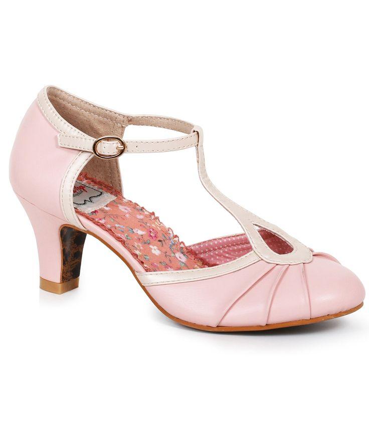 Vintage Style Shoes, Vintage Inspired Shoes Bettie Page Light Pink  Metallic Leatherette Keyhole Eris T-Strap Heels Shoes $83.00 AT vintagedancer.com