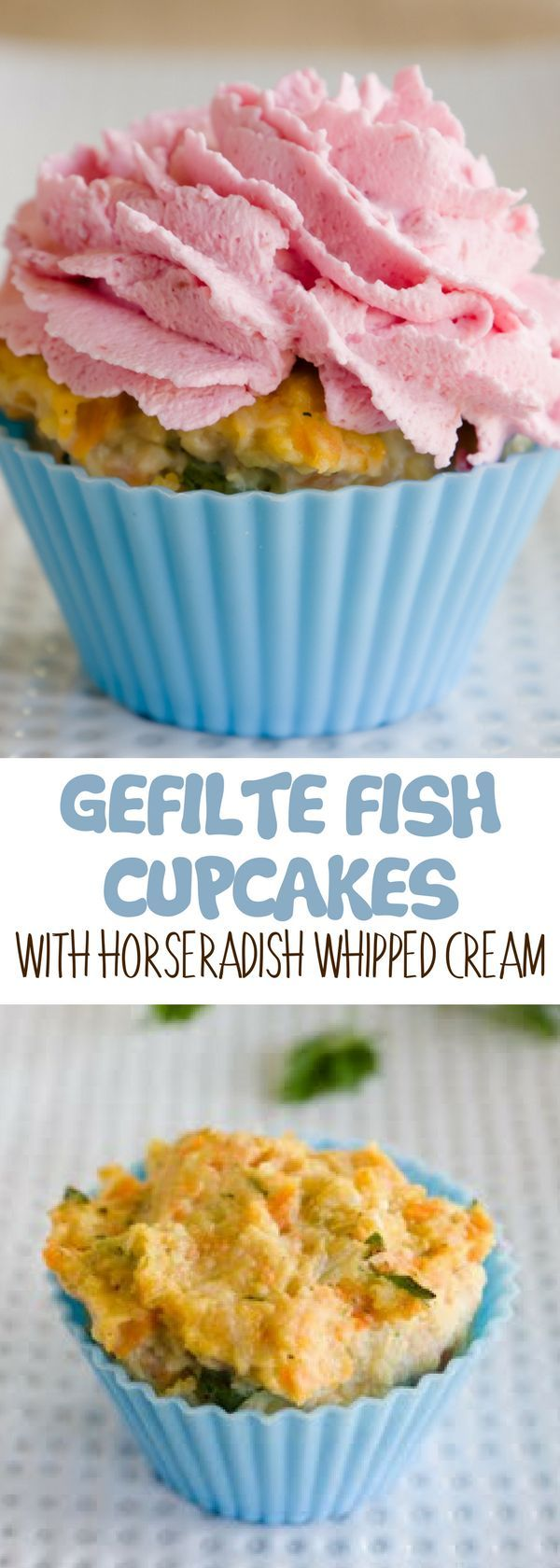 "Sweet cupcakes recipes? This Gefilte Fish Cupcakes with Horseradish Whipped Cream are not typical sweet cupcakes.  The smell of fish and onions will do all of the talking for you.  An adorable cupcake shape, however, might be just the hook that gefilte ""fish"" needs to be the catch of your Seder. For more simple baking desserts recipes and homemade sweet treats, check us out at #cupcakeproject. #desserts #yummydesserts #recipeoftheday #sweettooth"