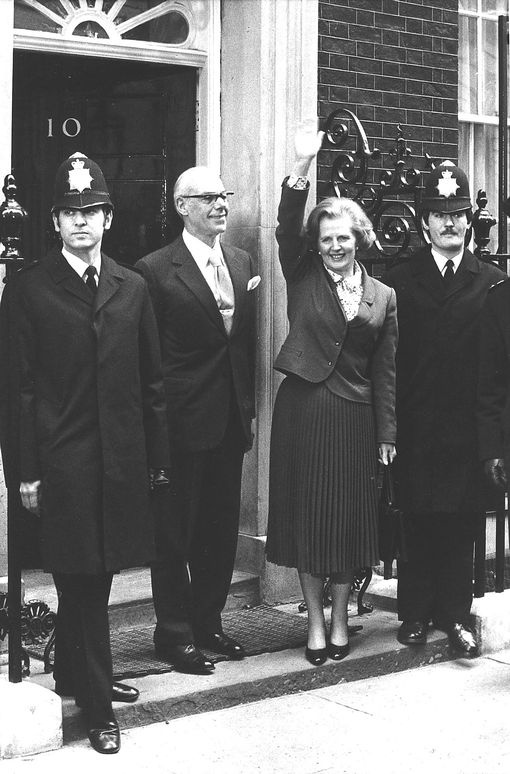 Margaret Thatcher is joined by husband Denis on the steps of Downing Street. RIP Maggie